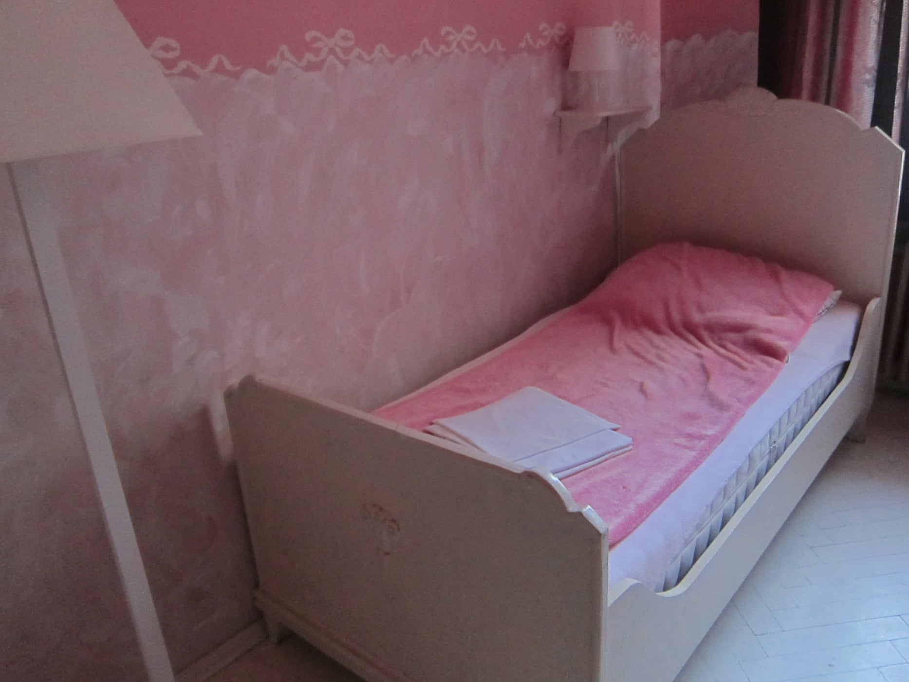 Pink room in my hostel in Warsaw, Poland.