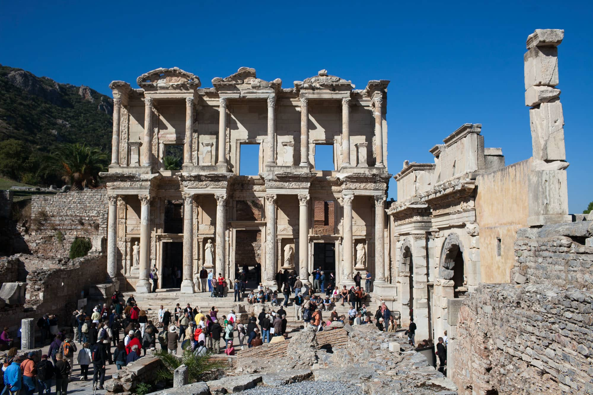 The ancient Greek city of Ephesus that lies in present day Turkey.