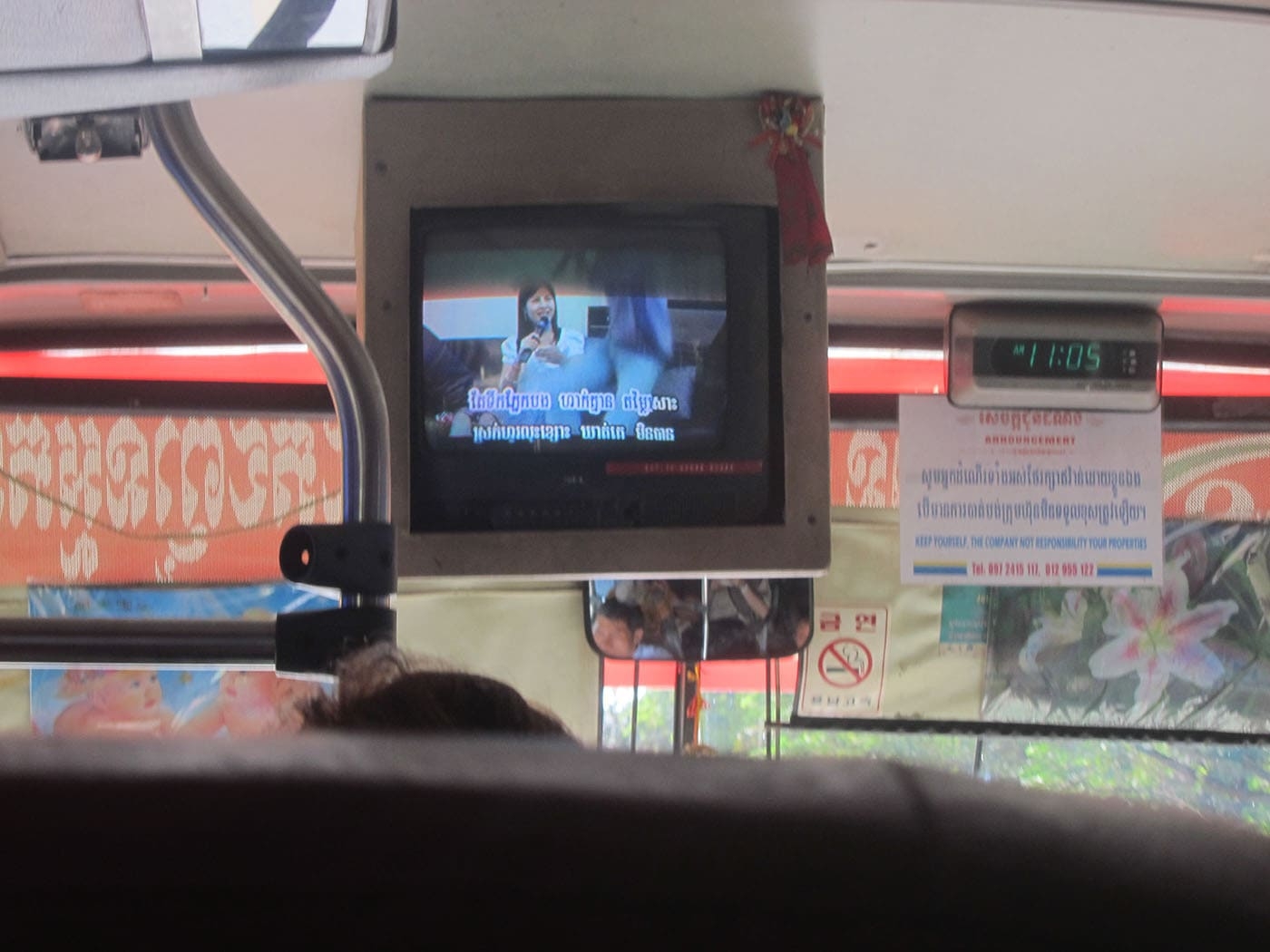 Karaoke on Cambodian buses