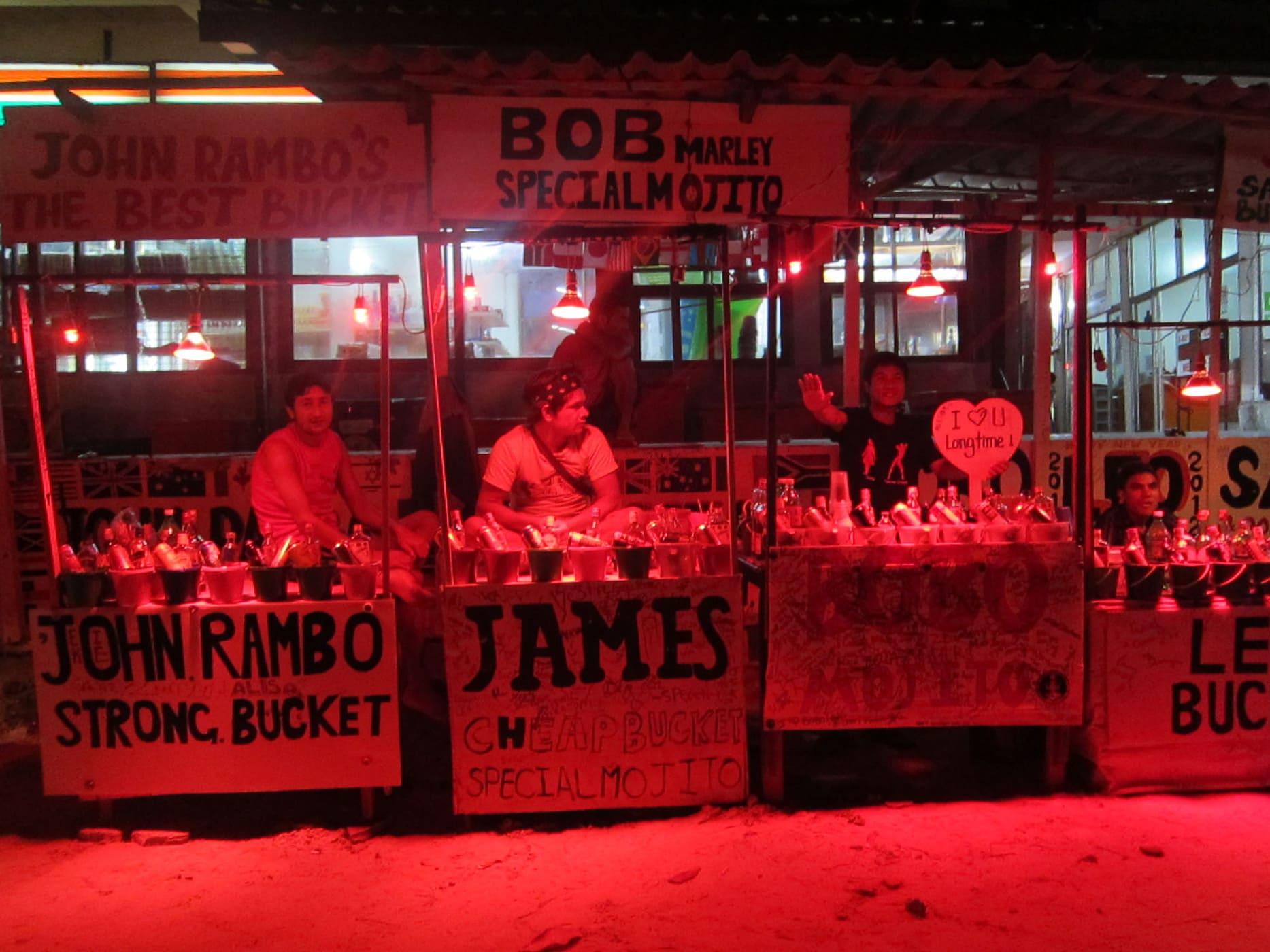 Bucket vendors in Koh Phangan, Thailand
