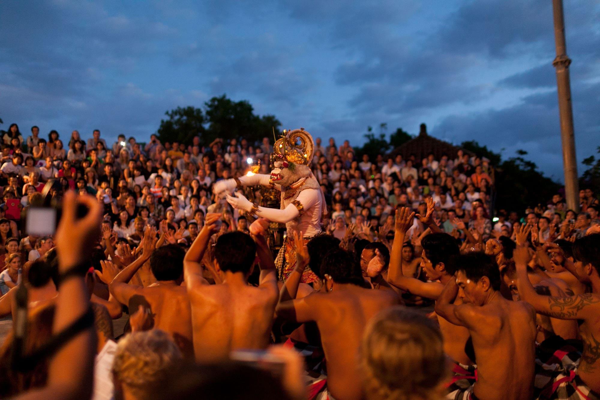 Kecak show at Pura Luhur Ulawatu in Bali, Indonesia
