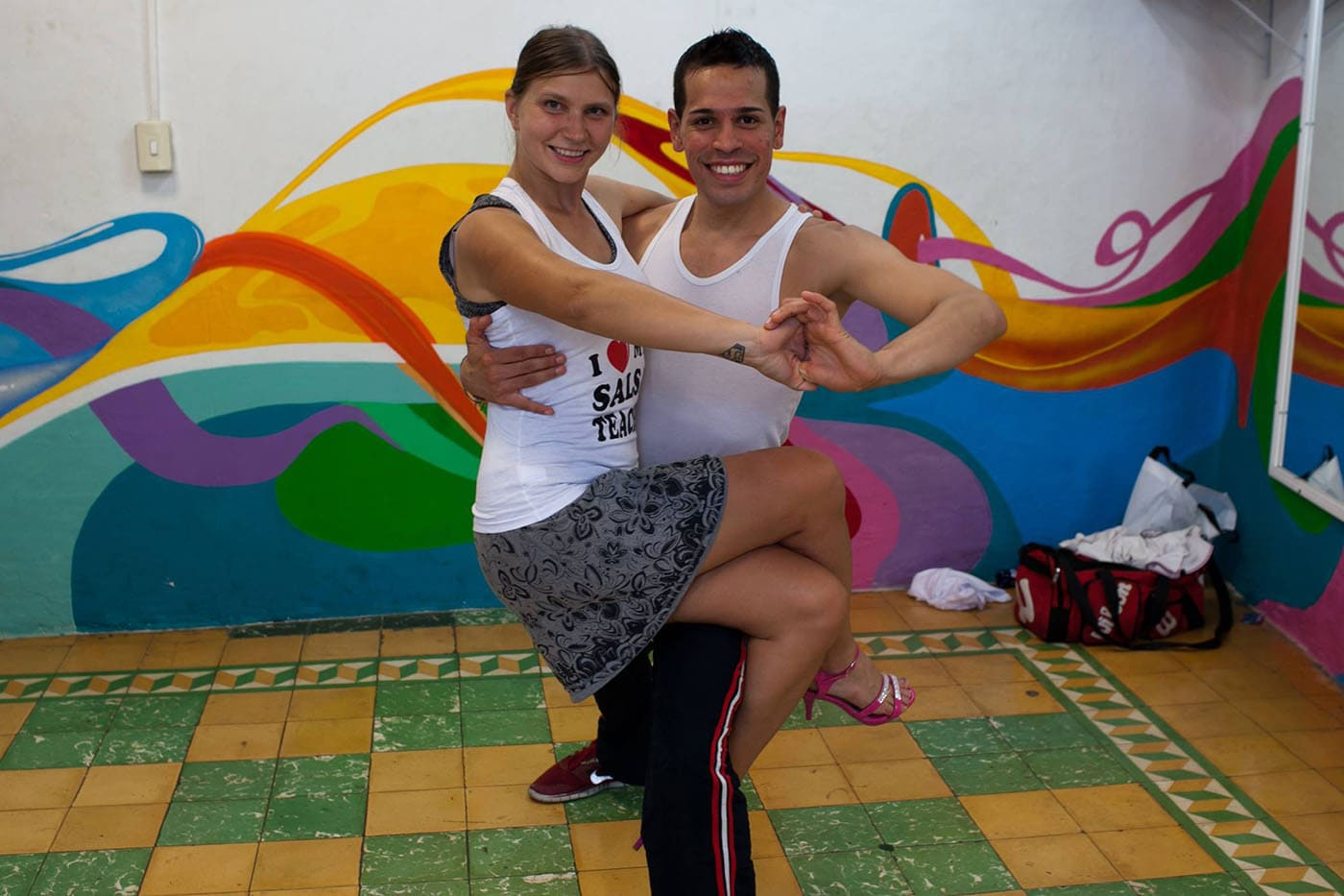 Learning to dance salsa in Cali, Colombia.