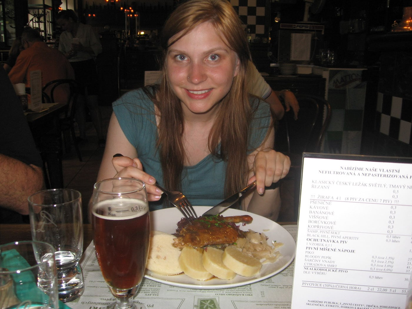 Val eats duck at Restaurace Pivovarsky Dum in Prague, Czech Republic