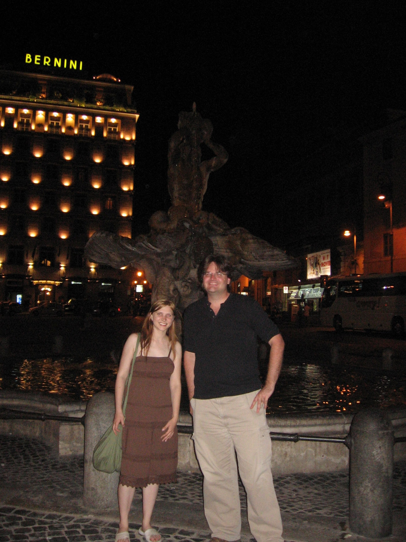 Val and Scott at Triton Fountain in Rome, Italy