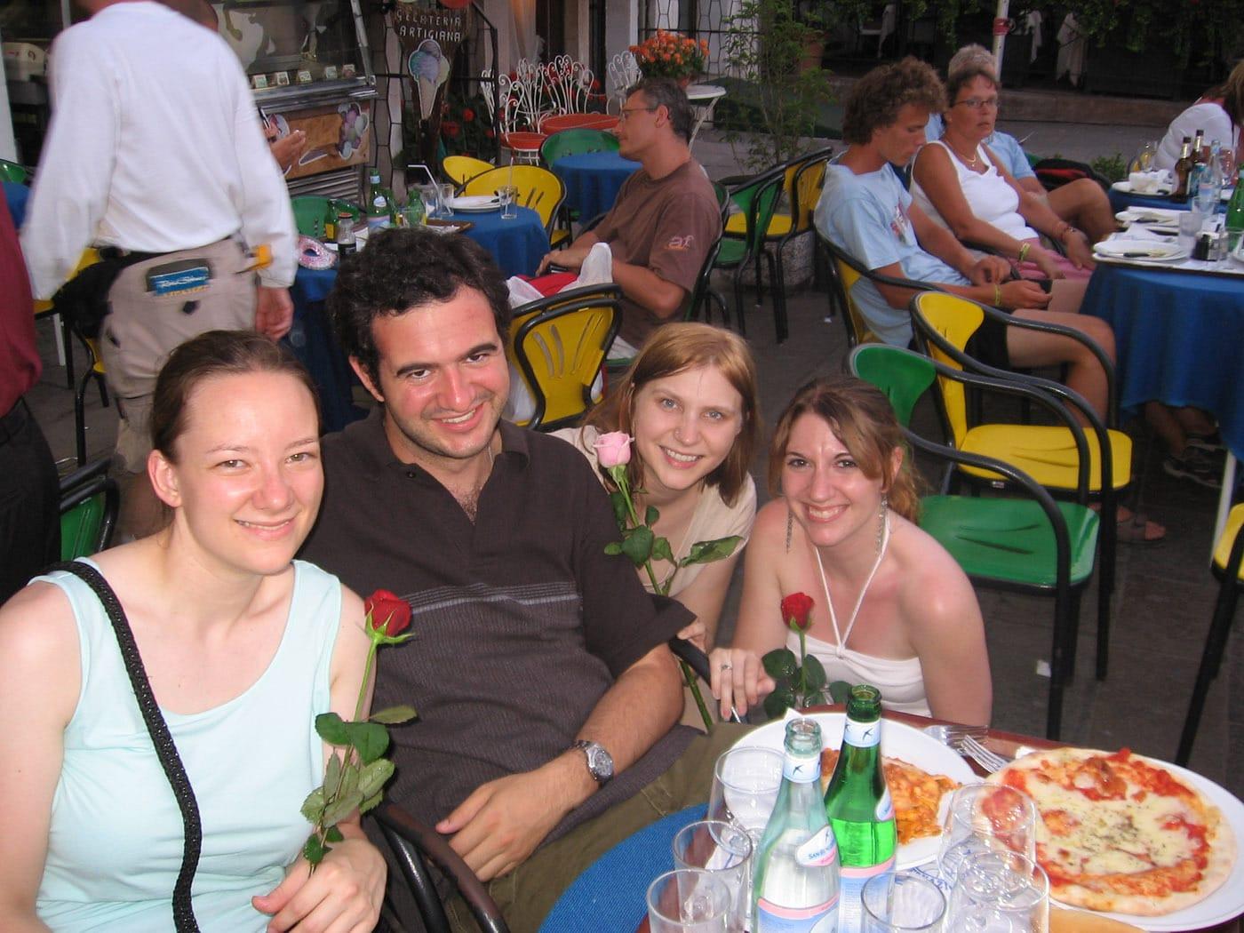 Joe treats his ladies to roses in Venice, Italy