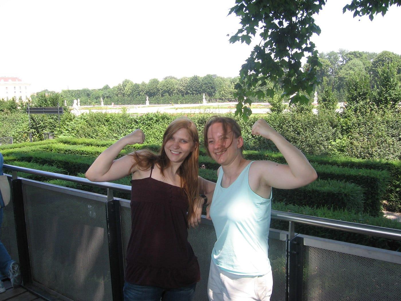 The girls win the maze in Vienna, Austria