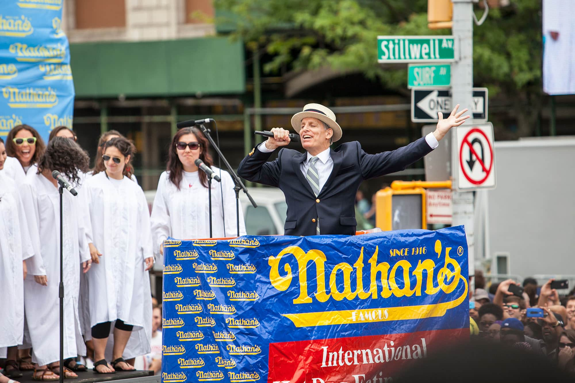 George Shea Introduces the 2015 Nathan's Famous July 4 Hot Dog Eating Contest.