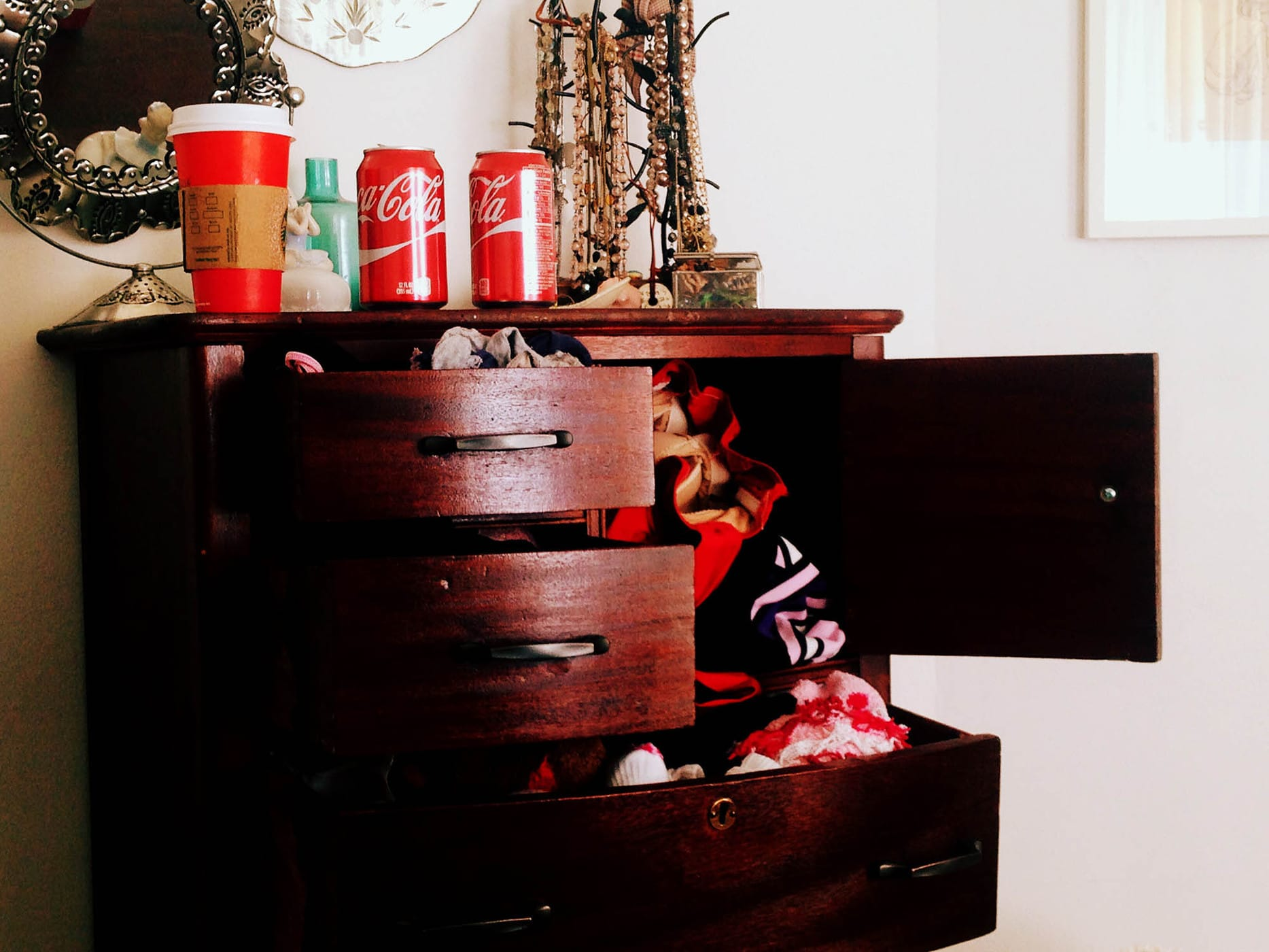 I tend to have Coke cans and Starbucks cups all over the place.