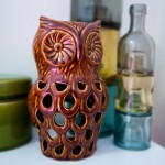 Pretty in Pink Bathroom - Owl Candle Holder