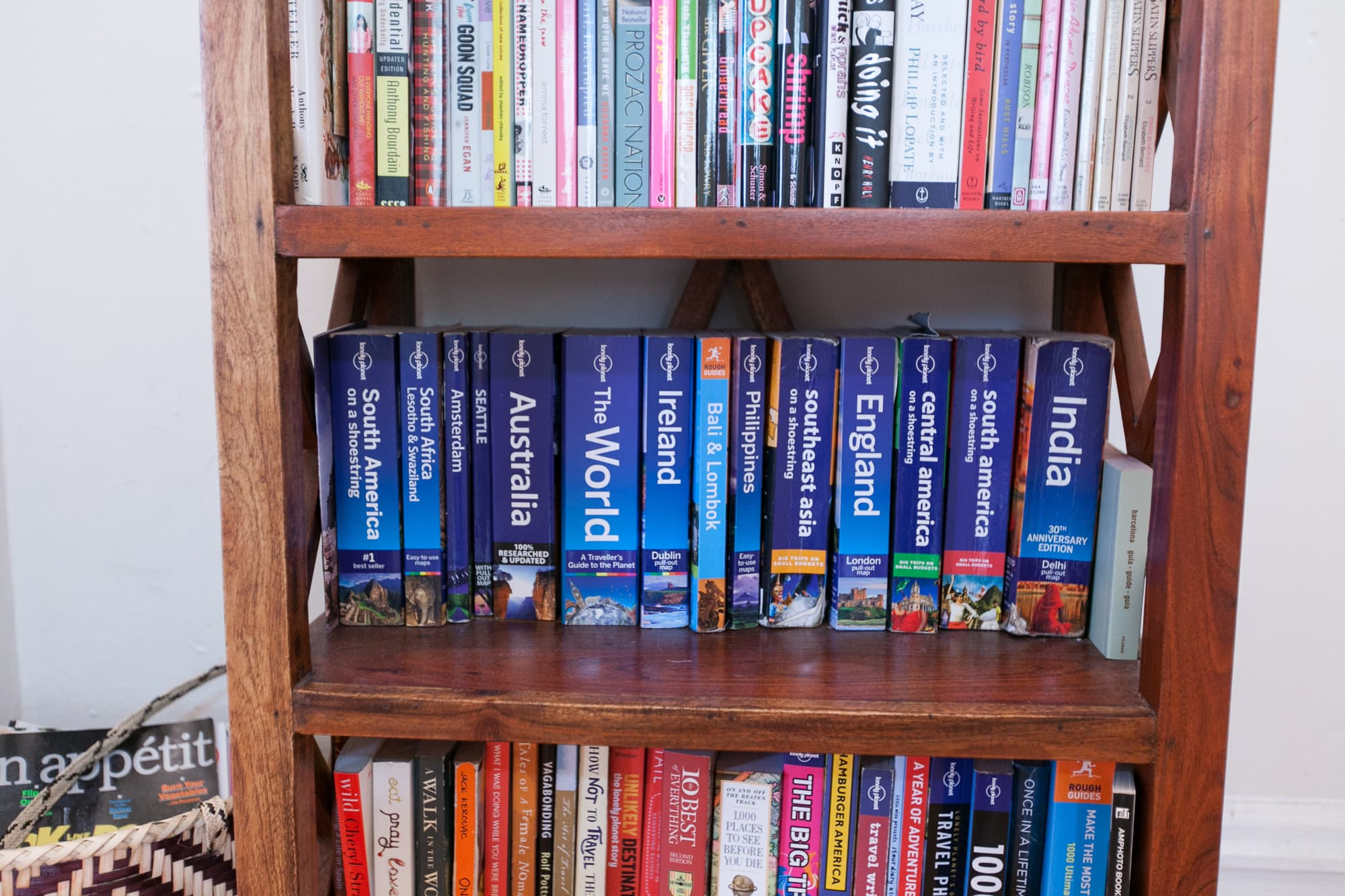 My collection of Lonely Planet guidebooks.