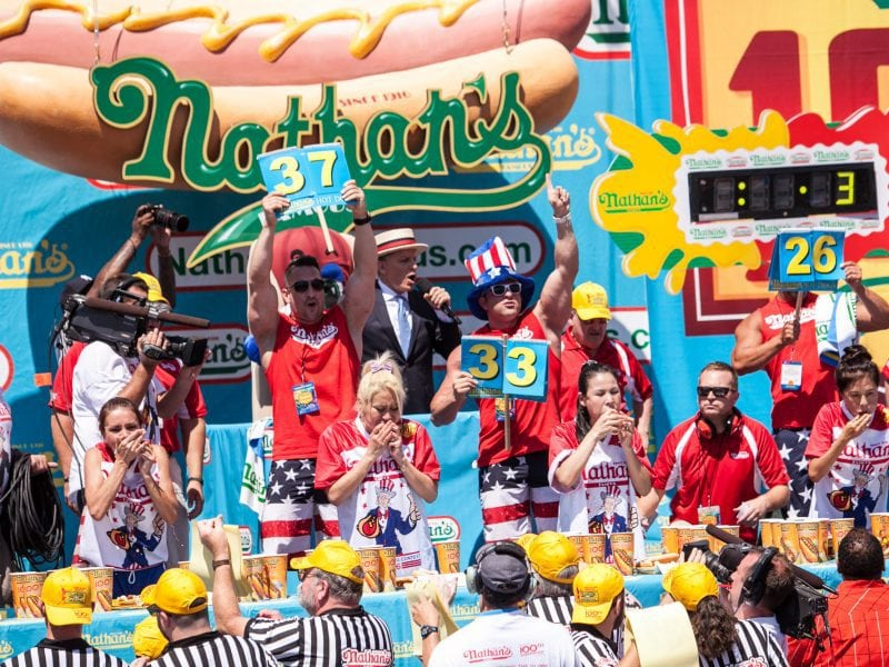 Miki Sudo wins the women's competition at the 2016 Nathan's Famous Fourth of July hod dog eating contest at Coney Island.