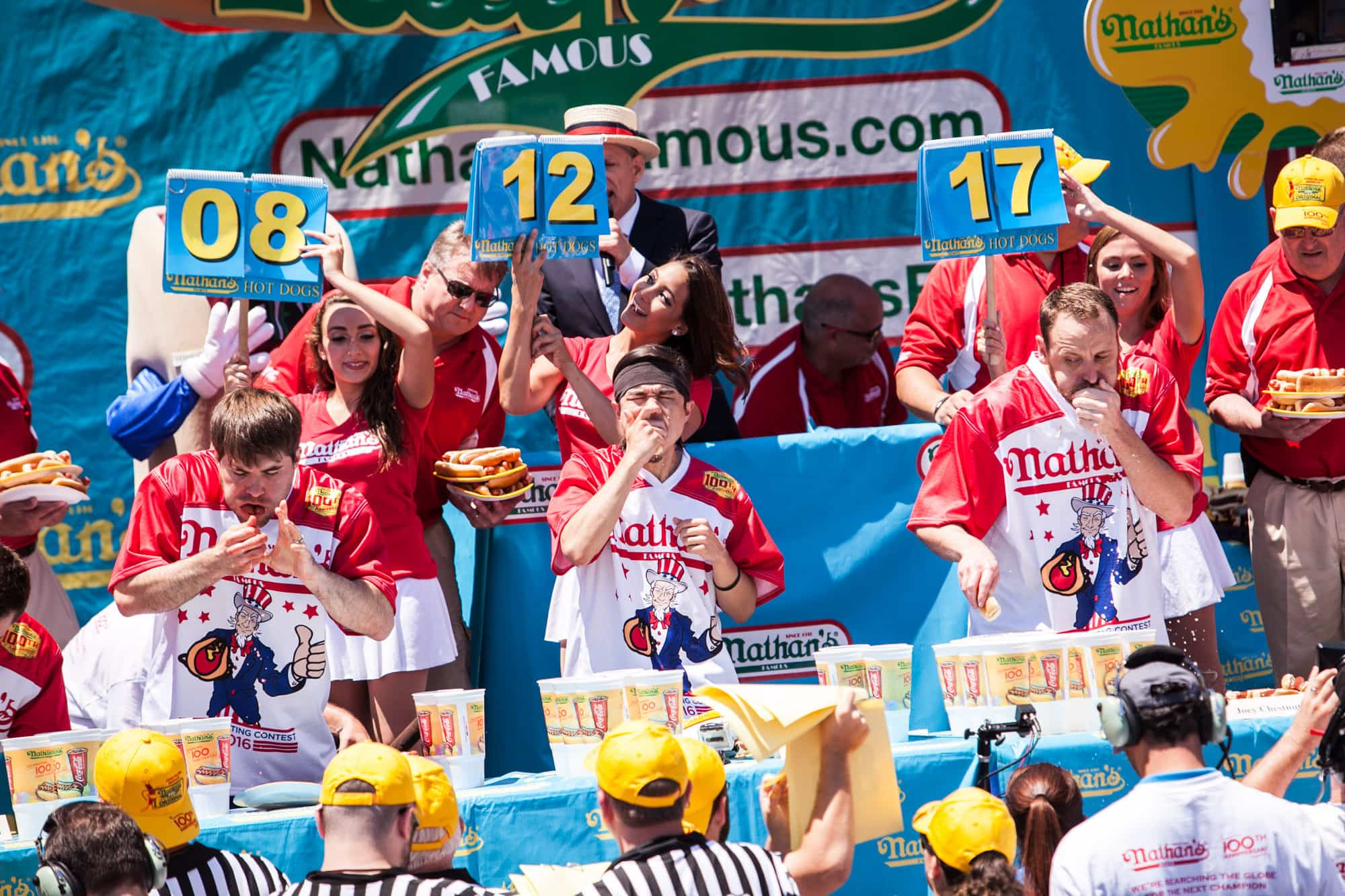2016 Nathan's Famous July Fourth hot dog eating contest at Coney Island.