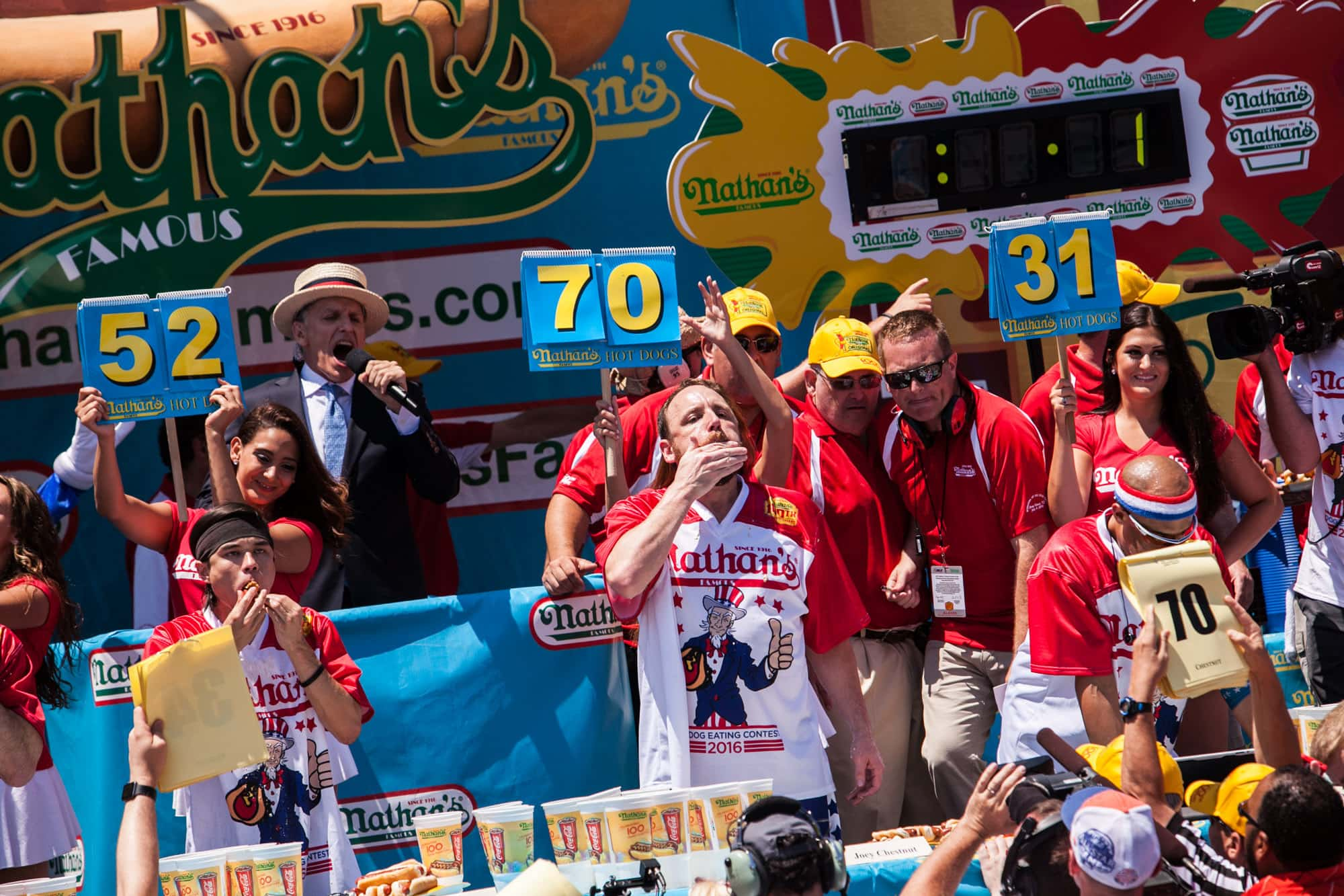 Joey Chestnut eats 70 hot dogs to win the 2016 Nathan's Famous July Fourth hot dog eating contest at Coney Island.
