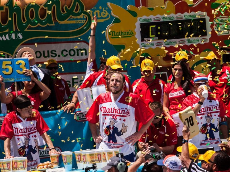 Joey Chestnut wins the 2016 Nathan's Famous hot dog eating contest at Coney Island.