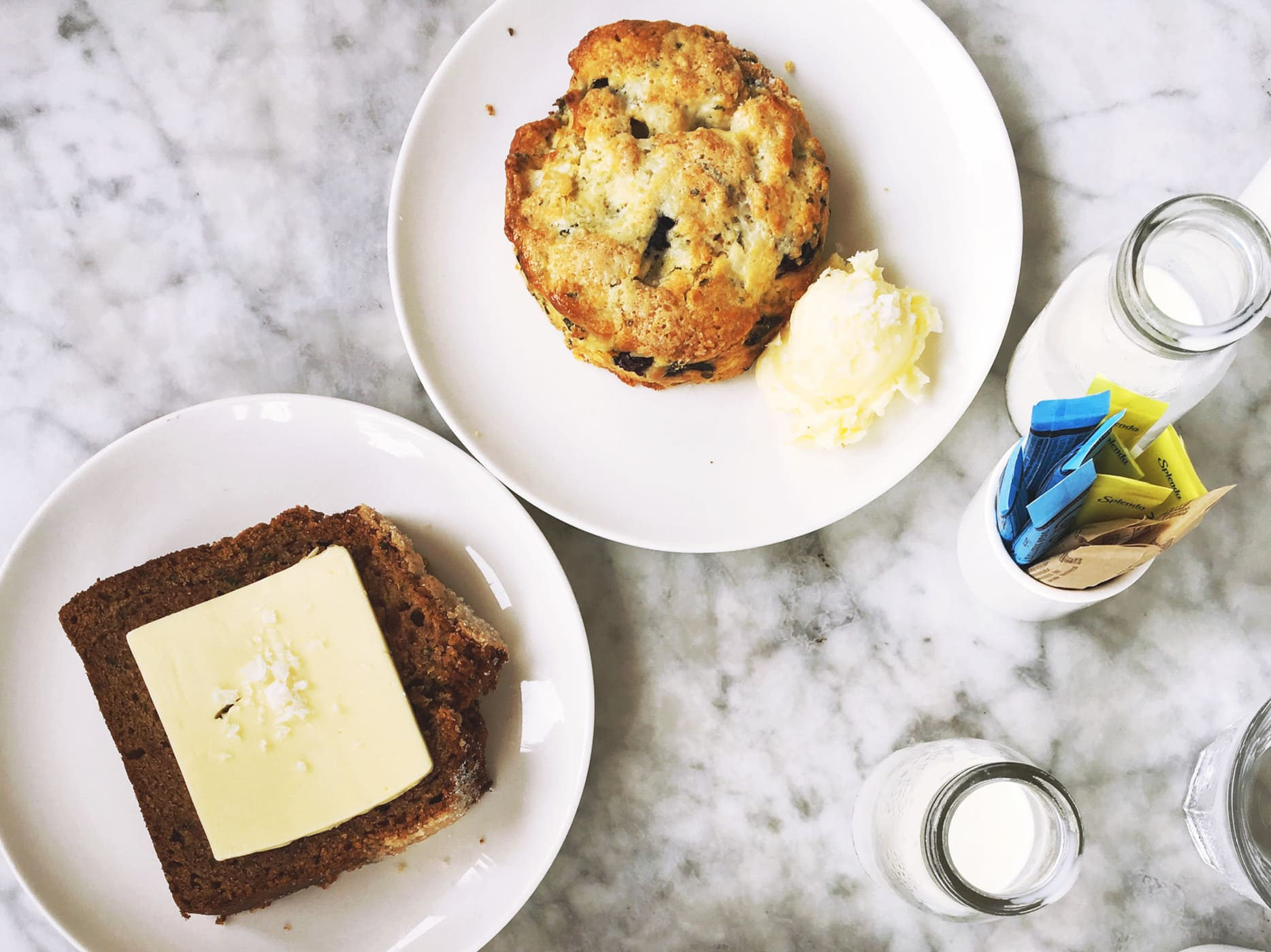 Zucchini bread and lemon blueberry scone at Launderette in Austin, Texas.