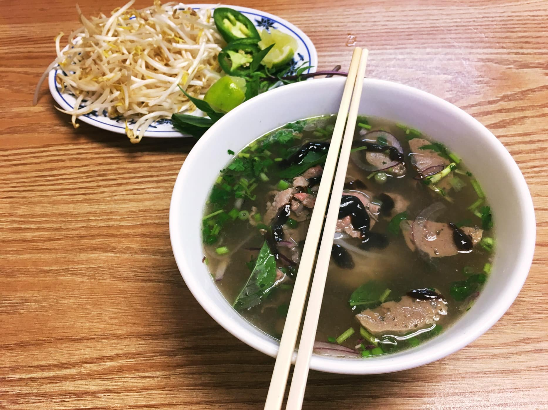 Pho Tai Bo Vien (noodle soup with eye round steak and meatballs) at Thanh Nhi in Austin, Texas.