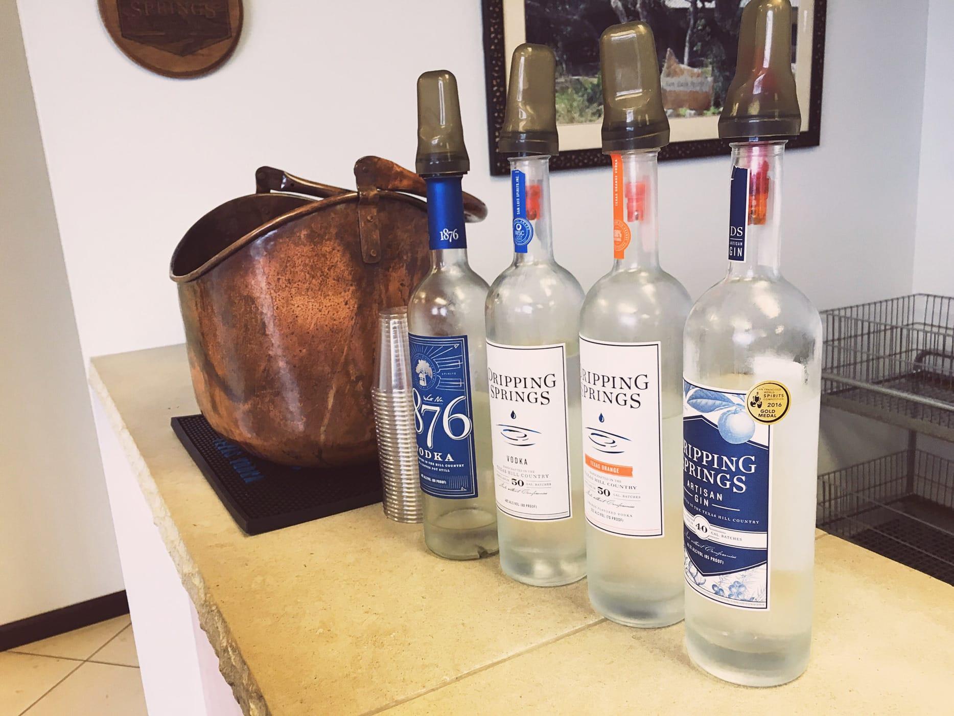 Tasting at Dripping Springs Vodka Distillery.