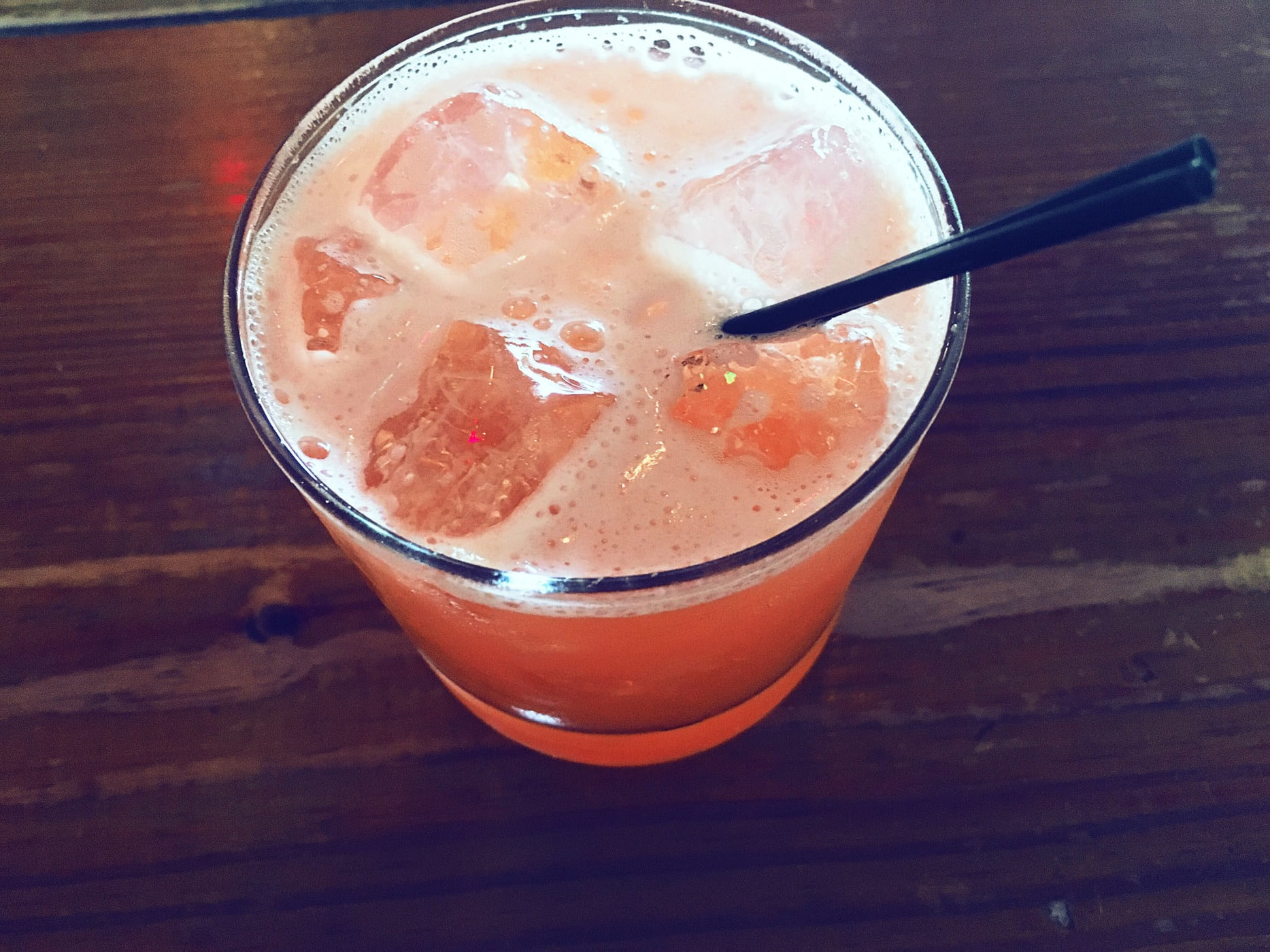 Pig Pen cocktail (strawberry infused Pepe Z Blanco, Aperol, lime, syrup) at Salty Sow in Austin, Texas.