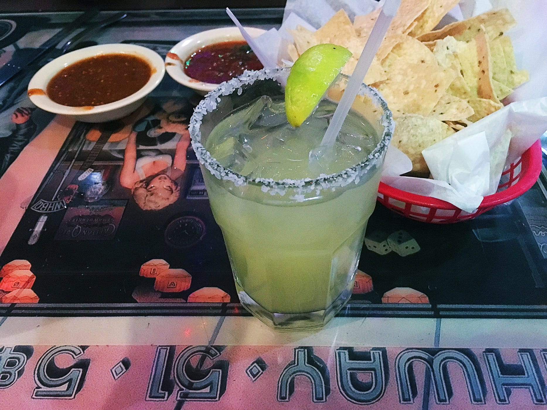 Margarita and chips and salsa at Polvos Mexican Restaurant in Austin, Texas.