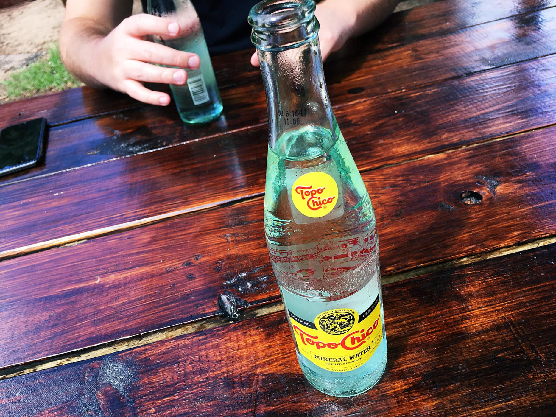 Topo Chico at Micklethwait Craft Meats food truck in Austin, Texas.