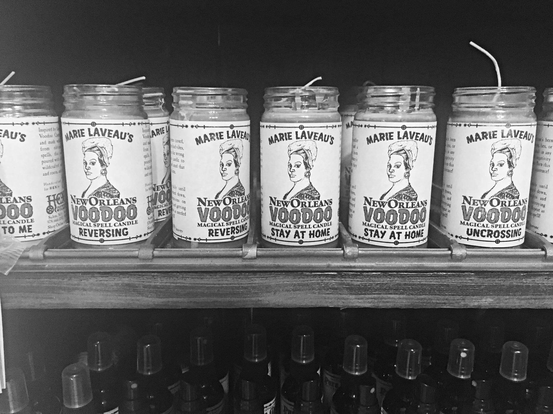 Candles in a voodoo shop in New Orleans.