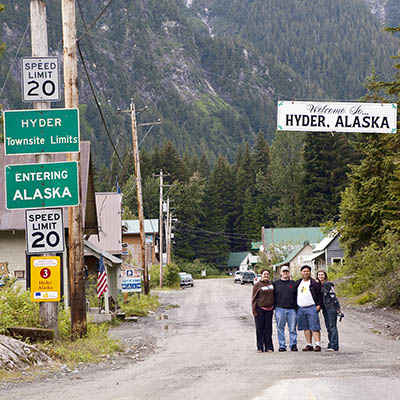 Take a road trip to Hyder, Alaska.