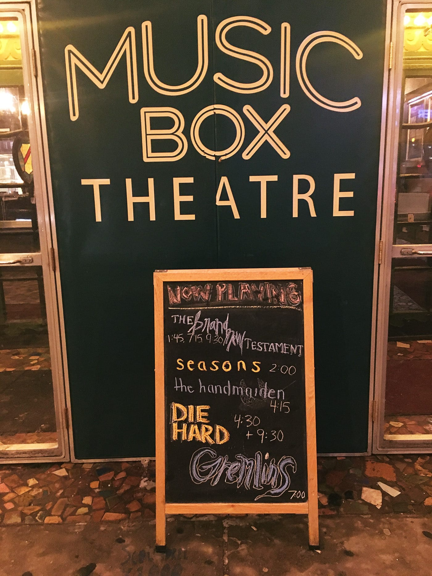 Gremlins and Die Hard Christmas double feature at Music Box Theater in Chicago.
