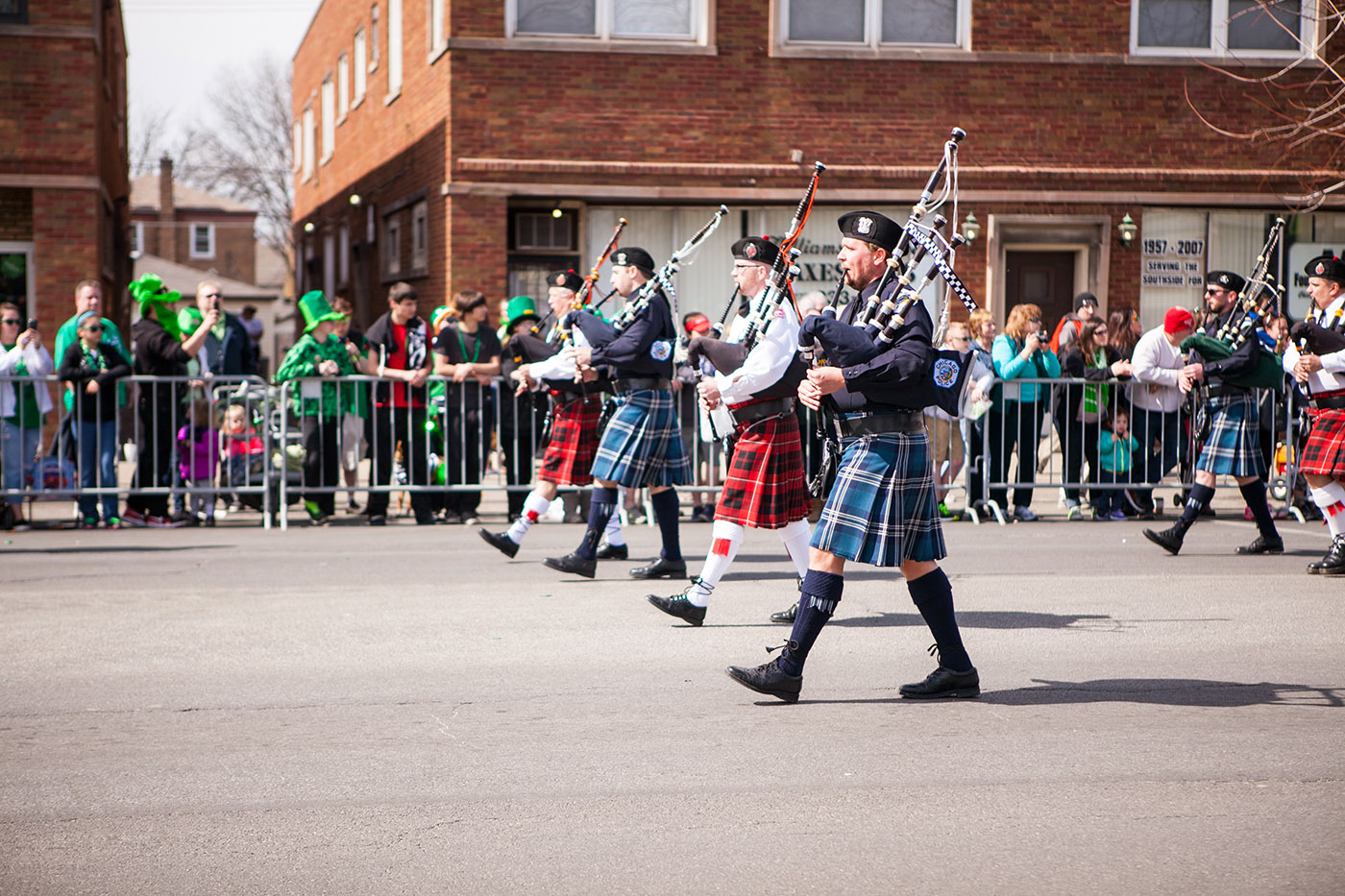 Bagpipers at the Chicago South Side Irish Parade 2015 - St. Patrick's Day