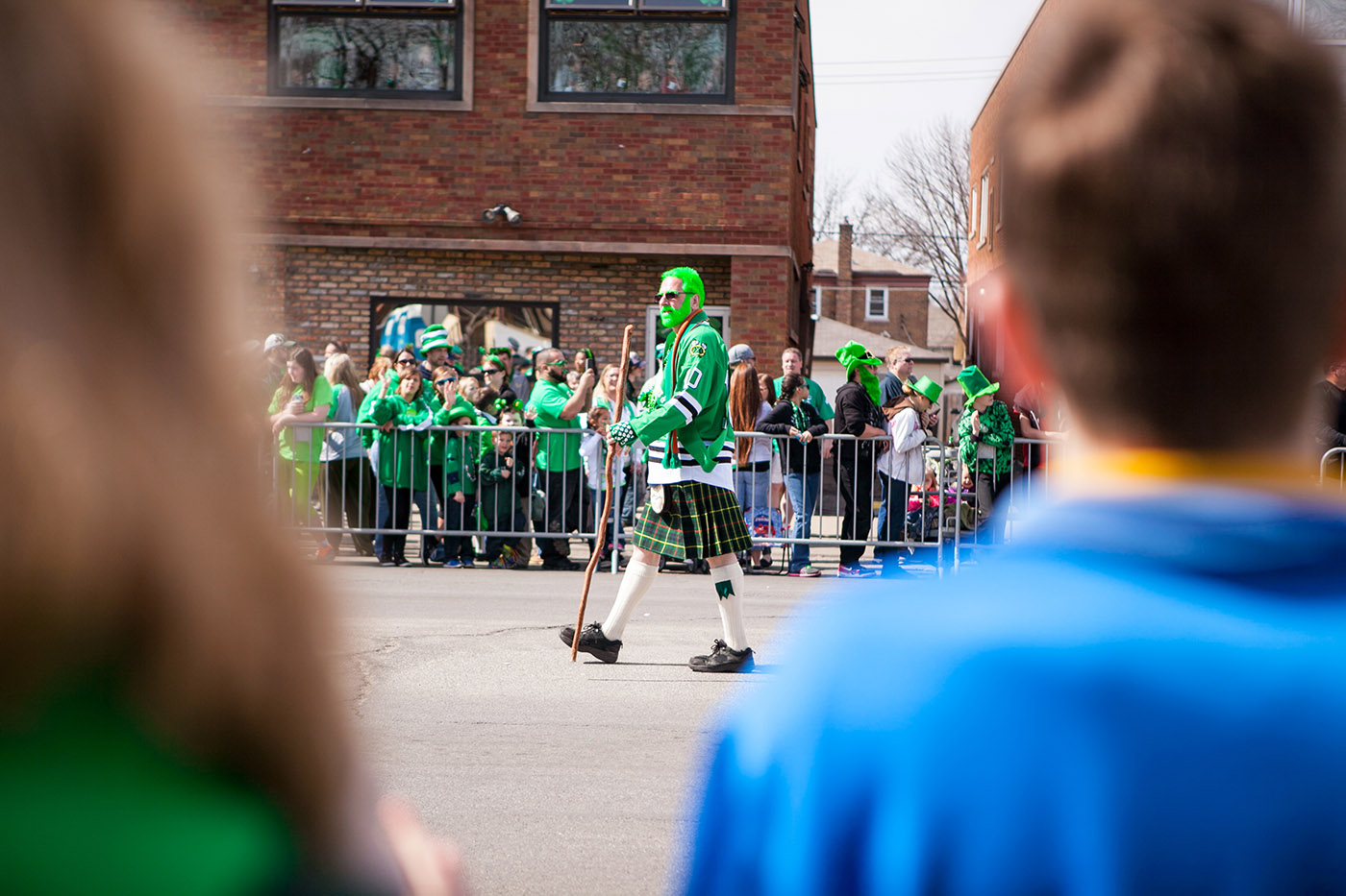 Green hair, green beard, at the Chicago South Side Irish Parade 2015 - St. Patrick's Day