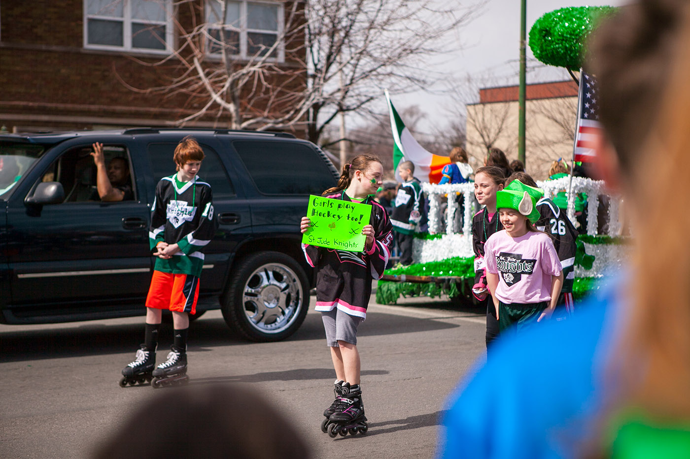 Girls Play Hockey Too - Chicago South Side Irish Parade 2015 - St. Patrick's Day