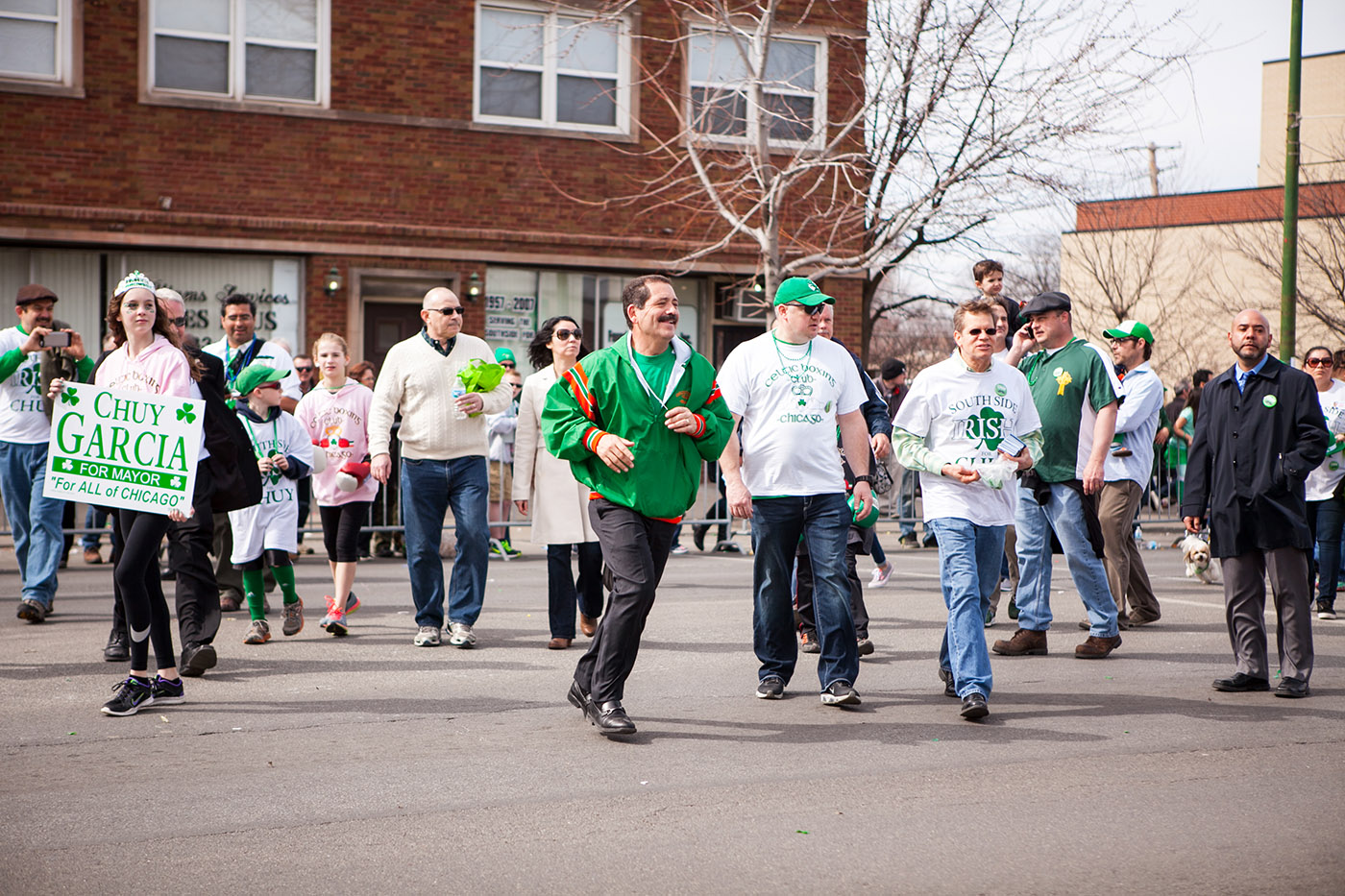 Chuy Garcia at the Chicago South Side Irish Parade 2015 - St. Patrick's Day