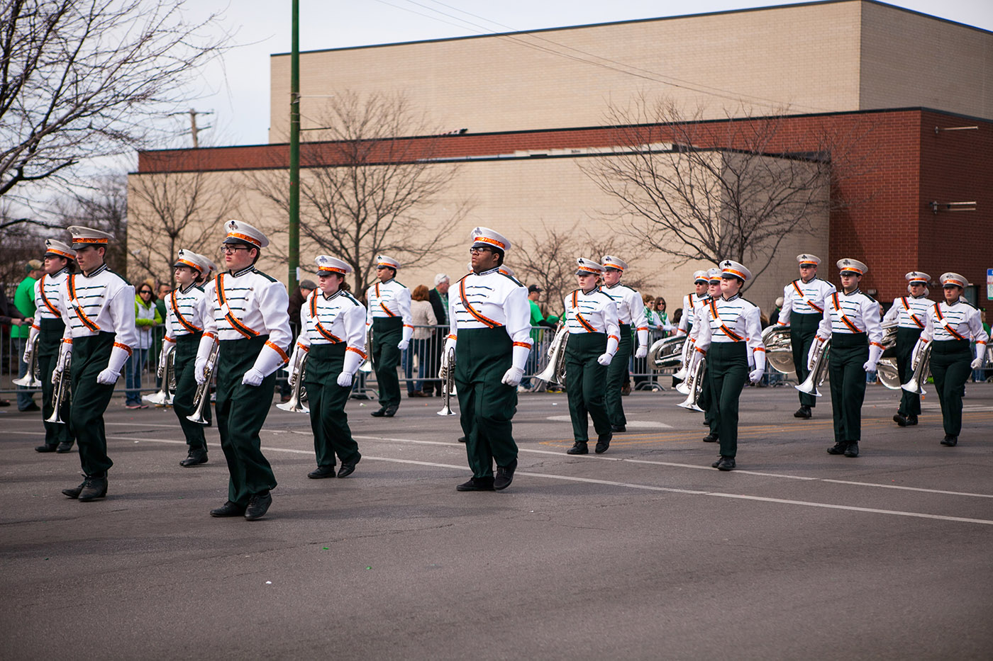 Marching band at the Chicago South Side Irish Parade 2015 - St. Patrick's Day