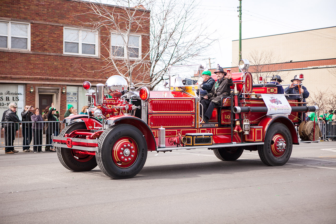 Fire truck at the Chicago South Side Irish Parade 2015 - St. Patrick's Day