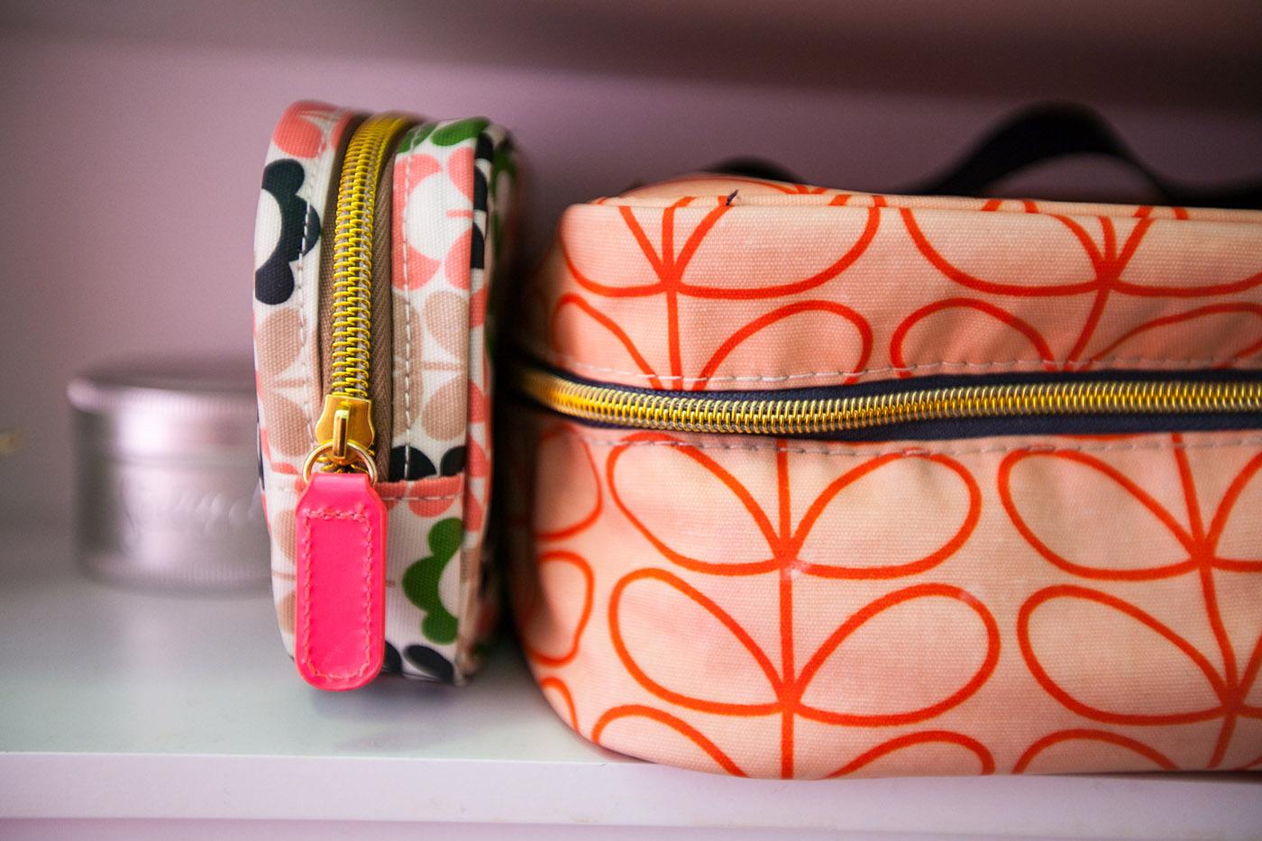 Pink Orla Kiely cosmetic bags - Pretty in Pink Bathroom
