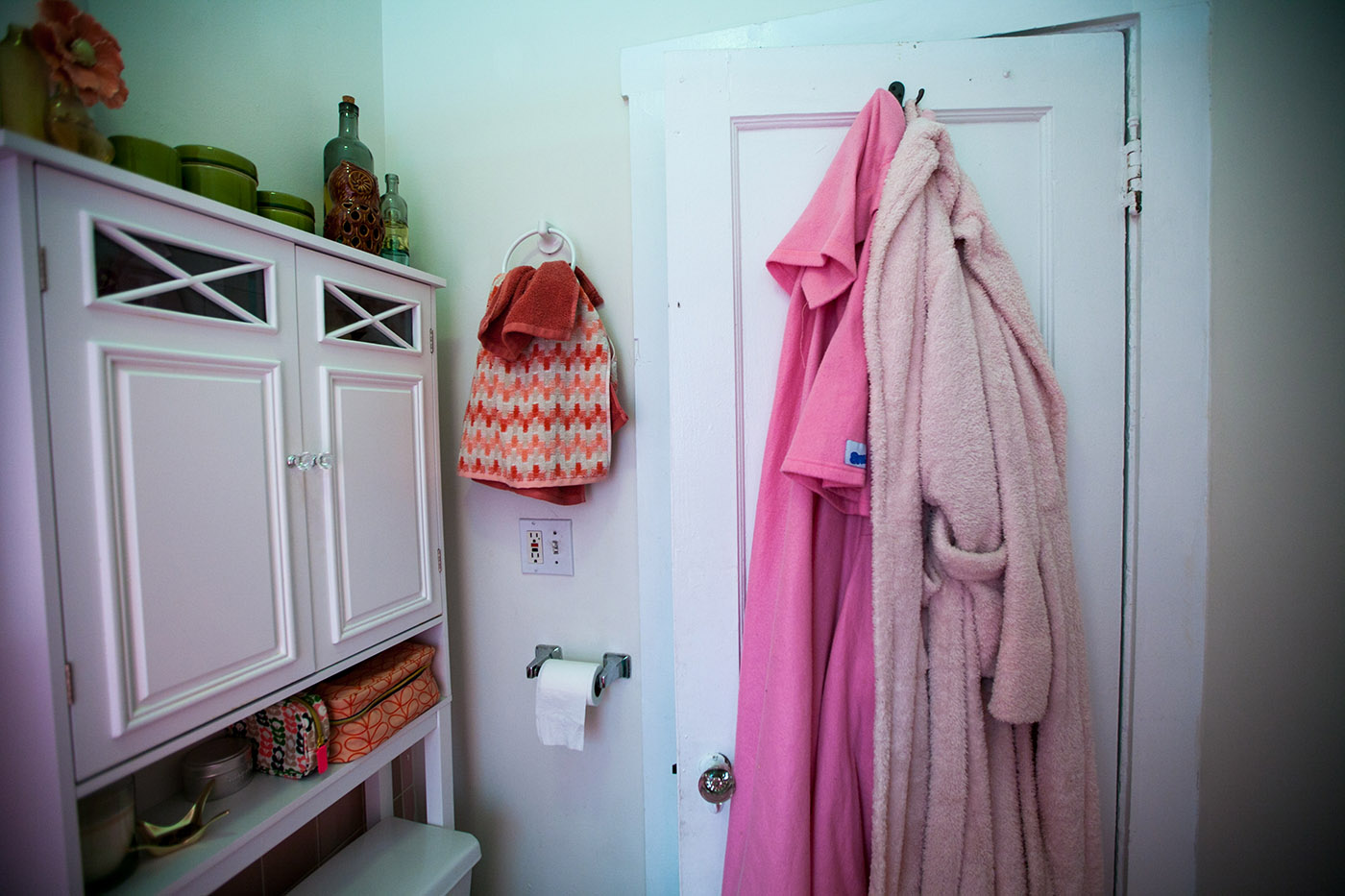 Pretty in Pink Bathroom with Pink Bathrobe and Snuggie