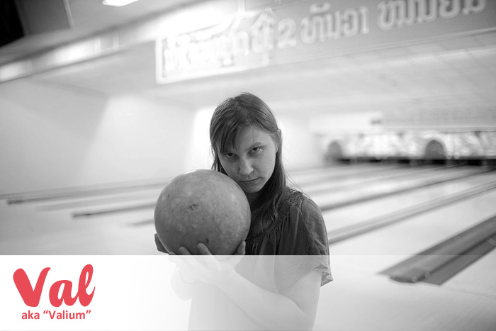 Bowling at Lao Bowling Center in Vientiane, Laos. - Valium