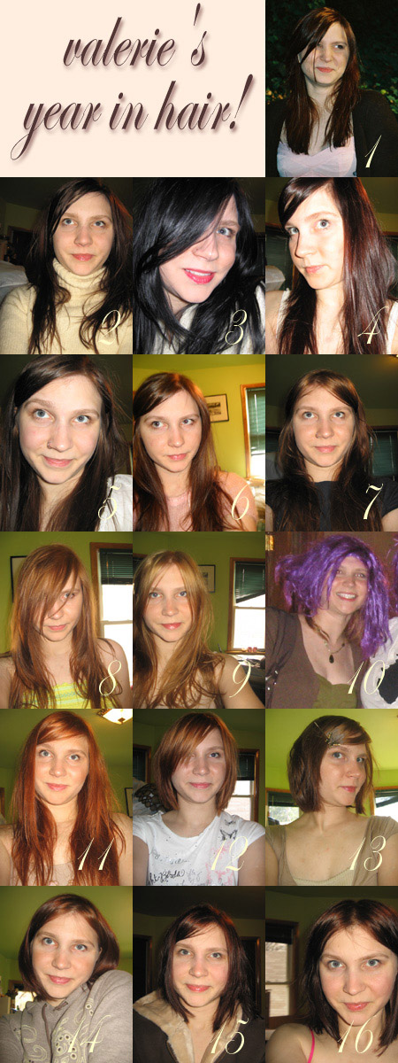 Sixteen different hair colors collage - I dyed my hair thirteen times in twelve months - it's only hair!