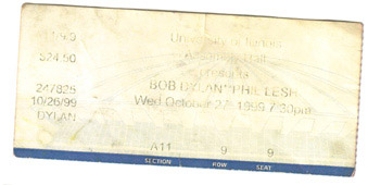 Bob Dylan concert ticket