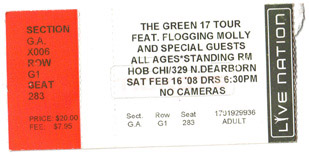 Flogging Molly concert ticket