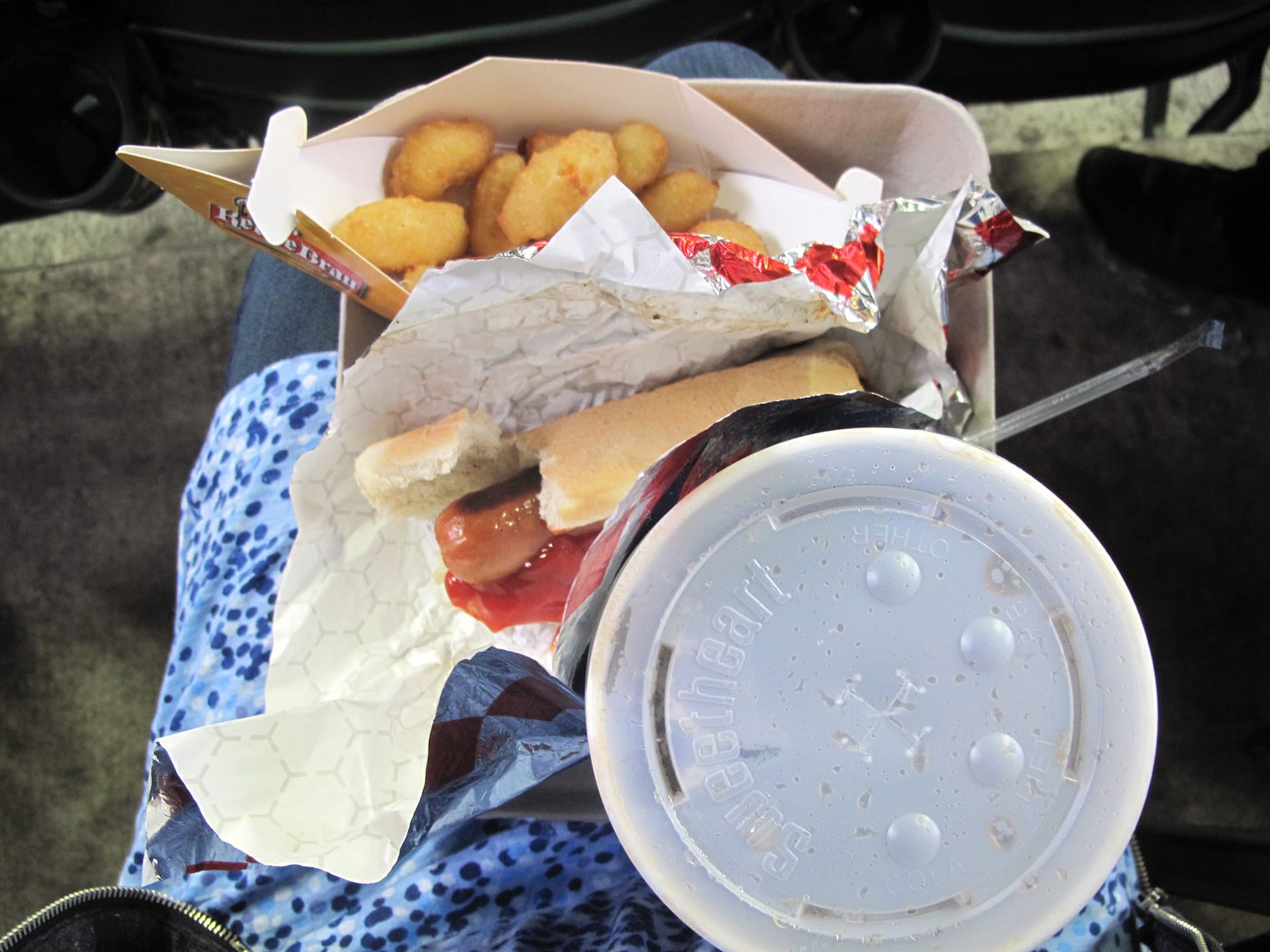 Hot dog and cheese curds at a Brewers game at Miller Park in Milwaukee, Wisconsin