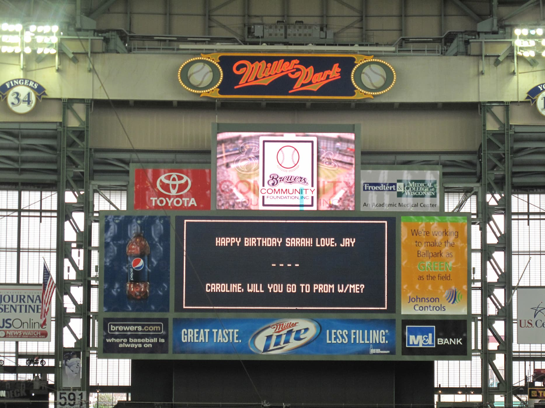 Promposal at a Brewers game at Miller Park in Milwaukee, Wisconsin