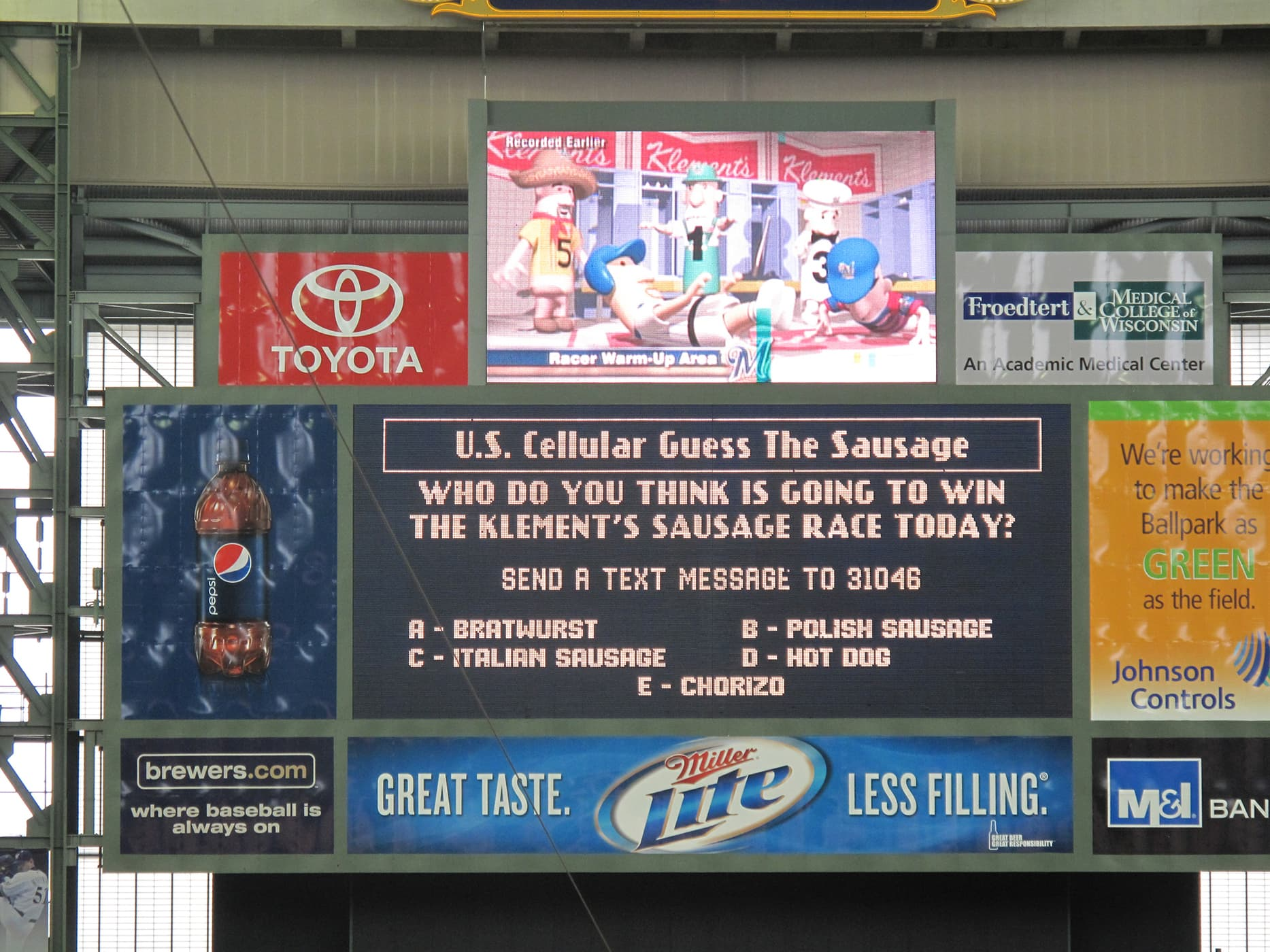 Sausage races at a Brewers game at Miller Park in Milwaukee, Wisconsin