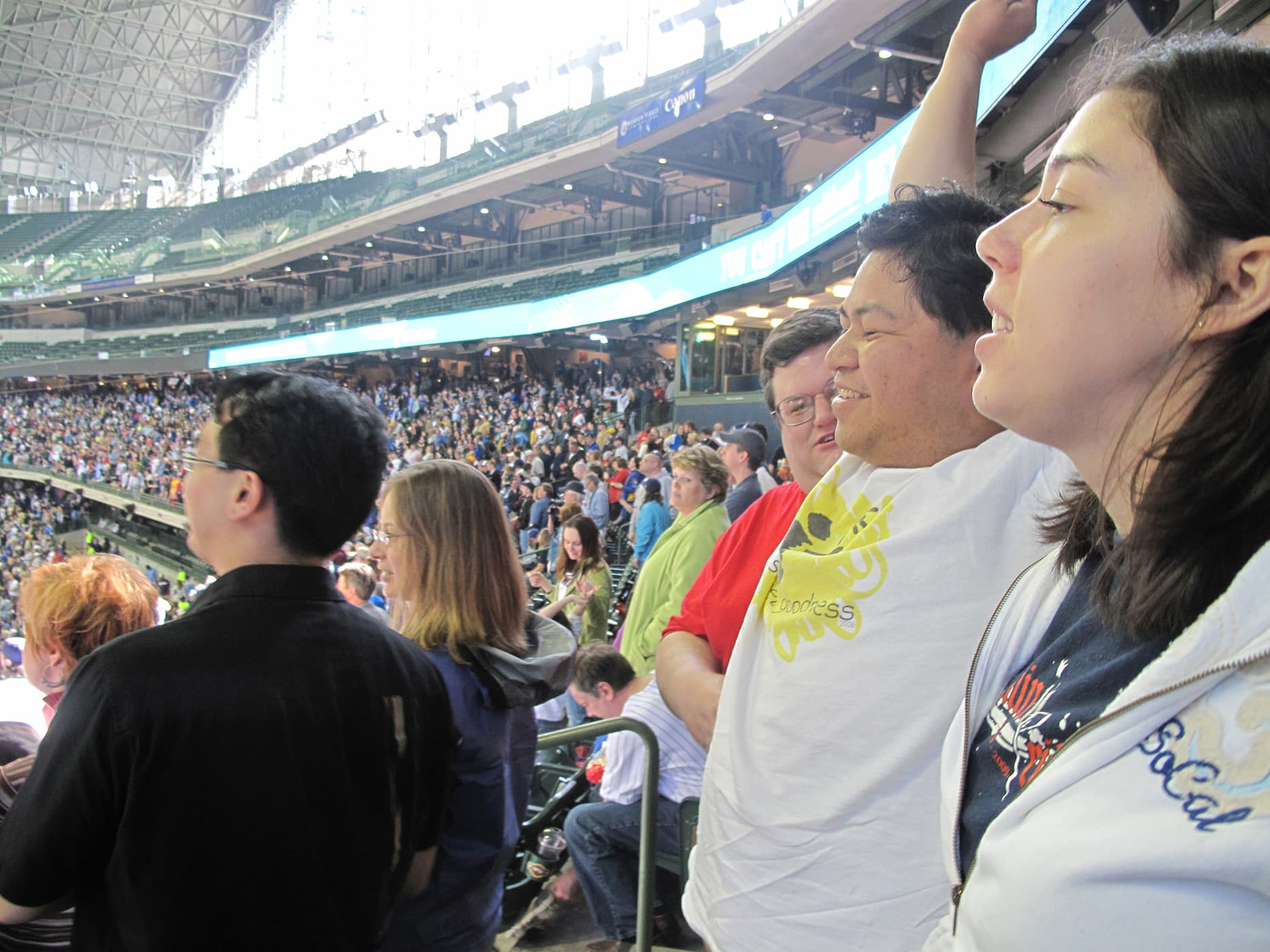 Seventh inning stretch at a Brewers game at Miller Park in Milwaukee, Wisconsin