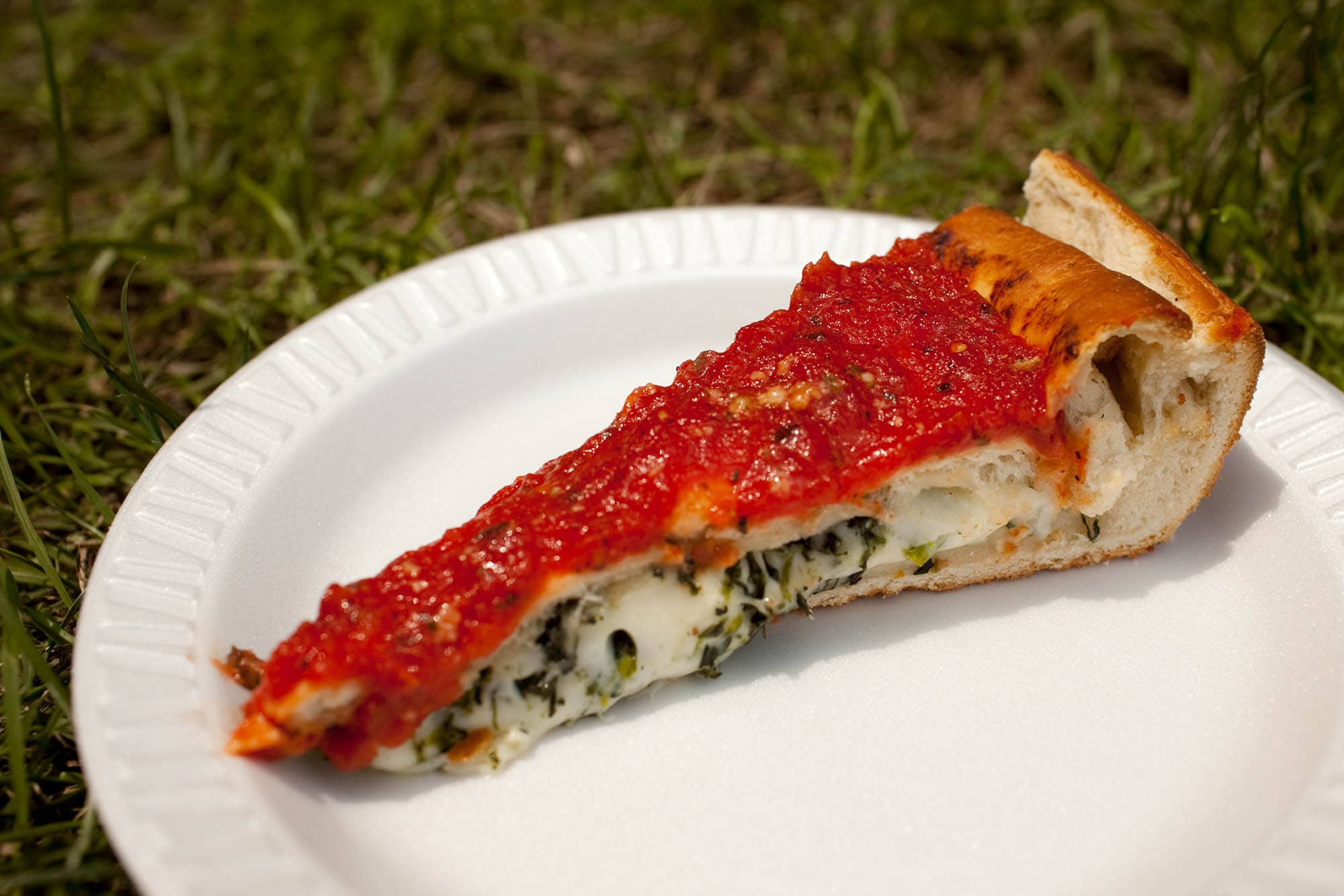 Spinach stuffed pizza at Taste of Chicago