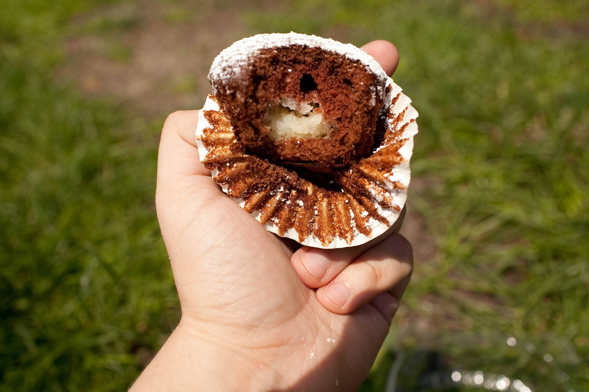 mashed potatoes filled chocolate cupcake at Taste of Chicago