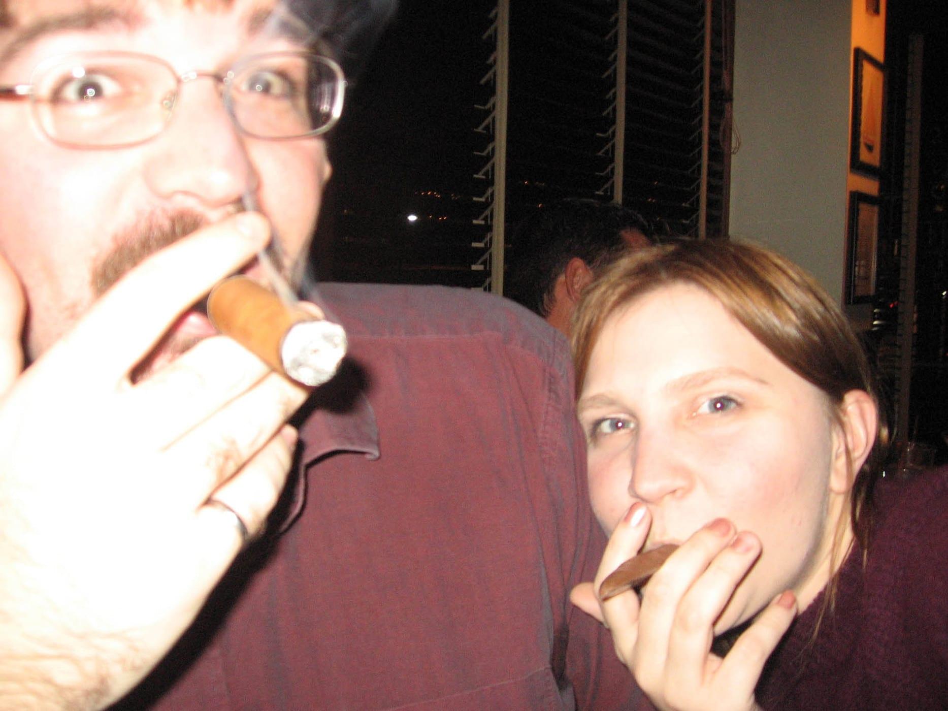 Scott and I smoke cigars  - Happy birthday Andy!