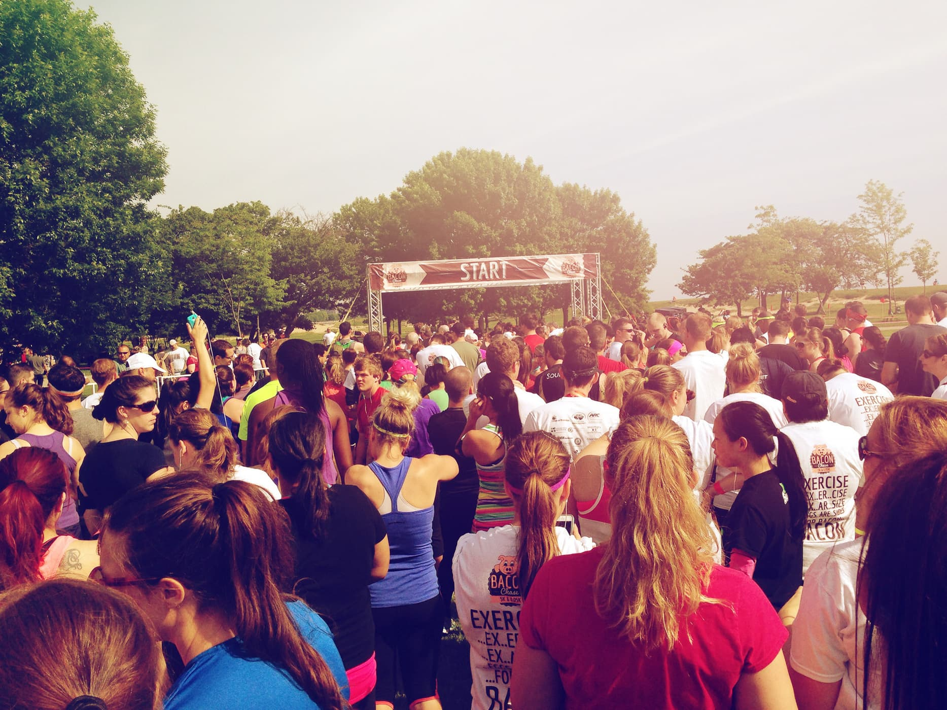 Approaching the start of the Bacon Chase 5K in Chicago, Illinois.