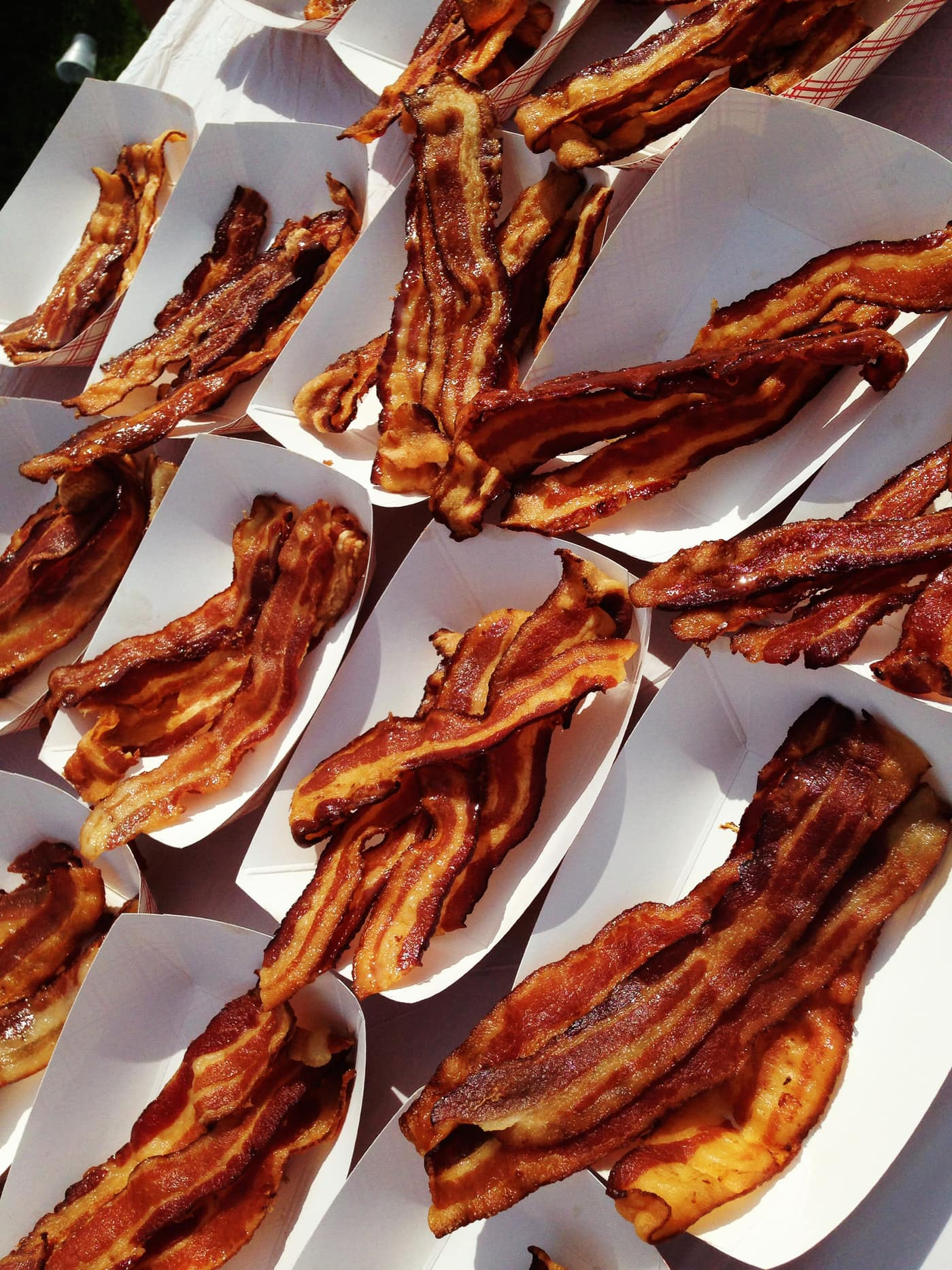 Unlimited bacon at the end of the Bacon Chase 5K in Chicago, Illinois.