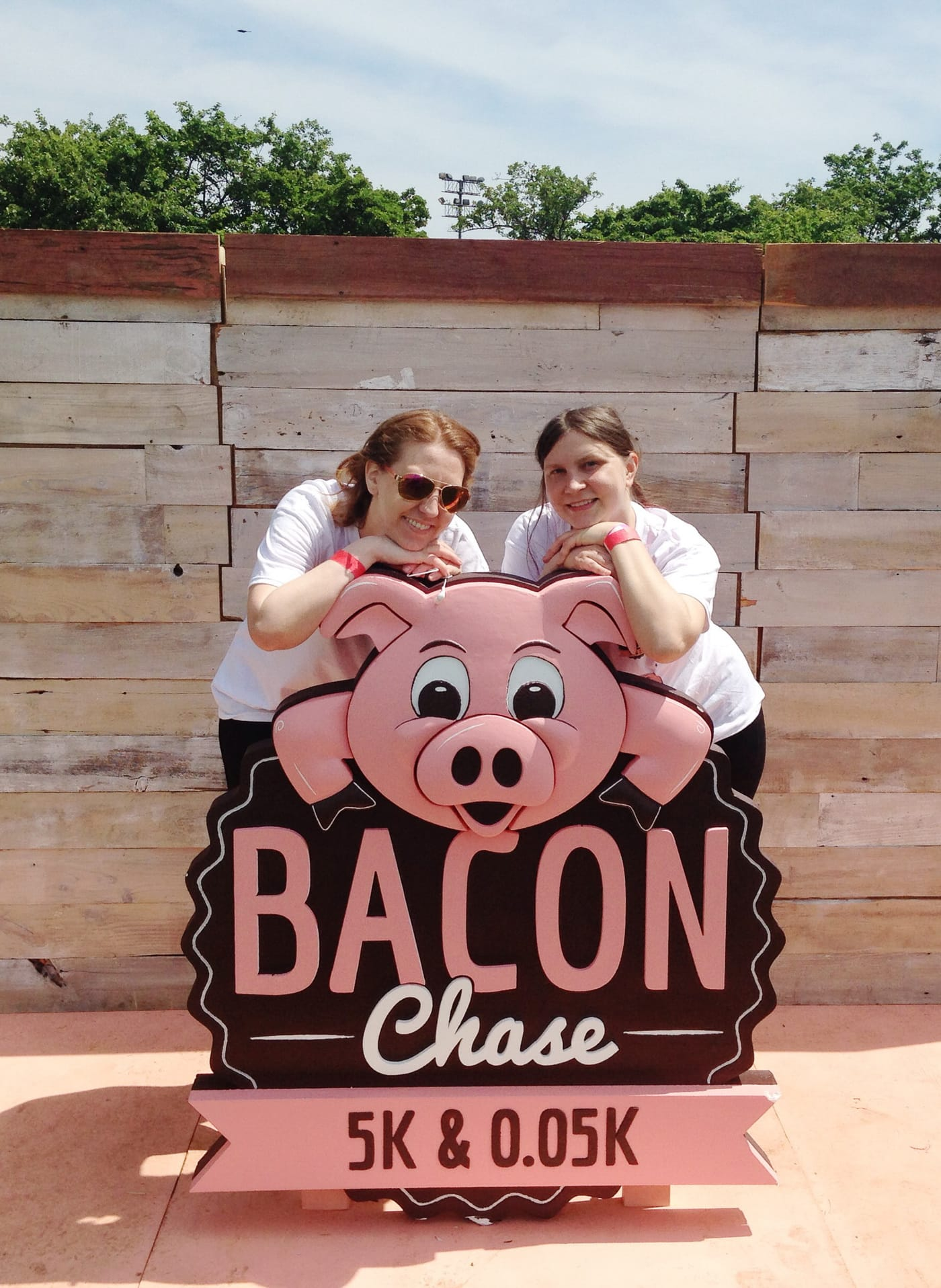 Val and Emily after the Bacon Chase 5K in Chicago, Illinois.