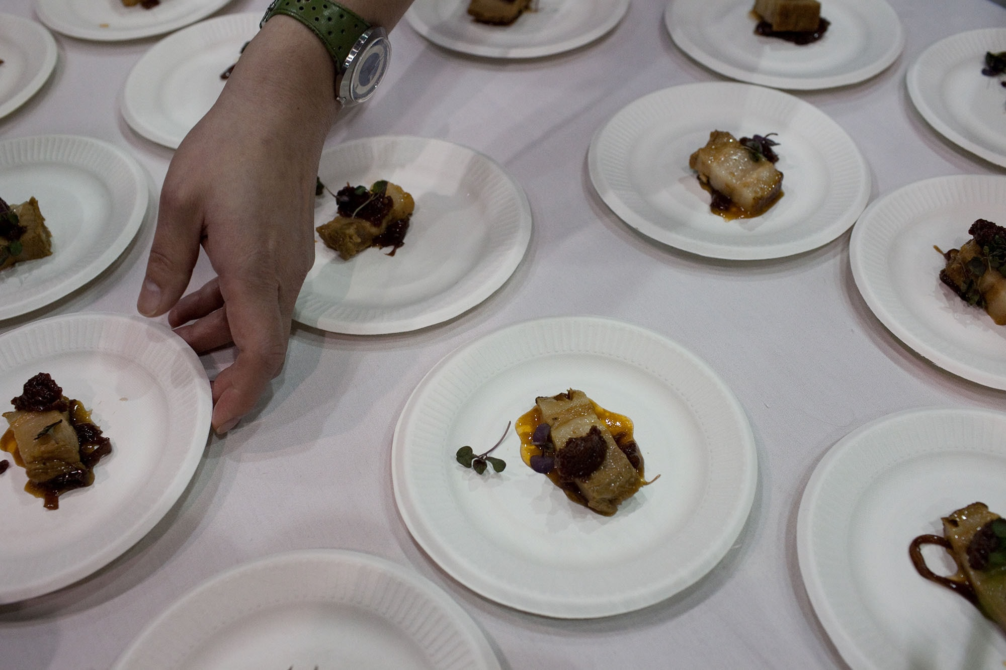 Bacon Manhattan: Templeton Rye Braised Pork Belly, Vermouth & Onion Marmalade with Tart Cherry from Custom House Tavern at Baconfest Chicago
